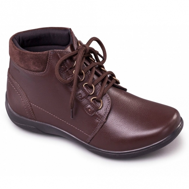Padders JOURNEY Ladies Leather Extra Wide (3E/4E) Boots Brown