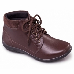 JOURNEY Ladies Waterproof Leather EEE/EEEE Wide Boots Brown