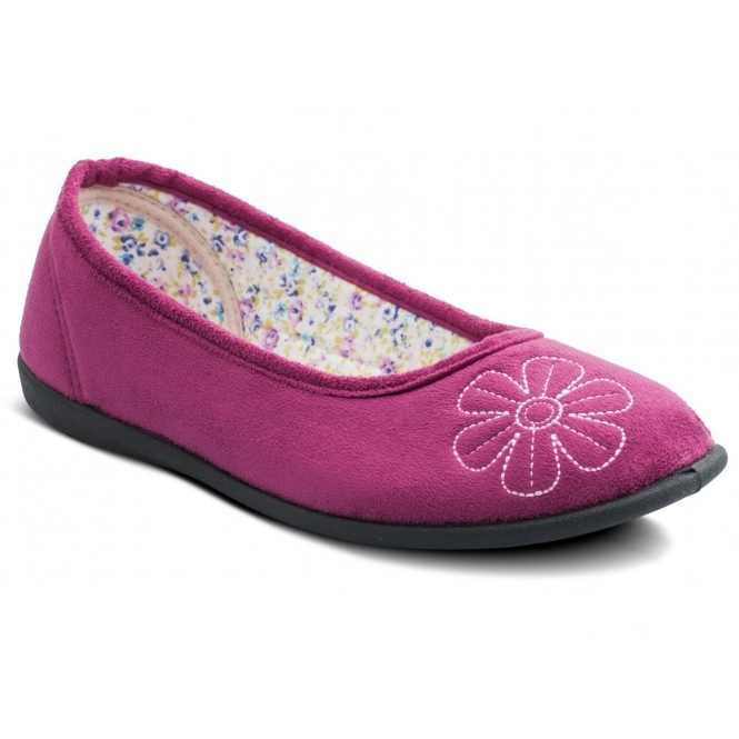 Padders JOY Ladies Microsuede Wide Ballerina Slippers Cerise
