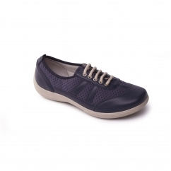 Padders JULIE Ladies Leather Extra Wide (3E/4E) Trainer Shoes Navy