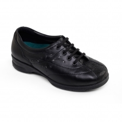 Padders KAREN 2 Ladies Leather Super Wide (4E/6E) Trainers Black