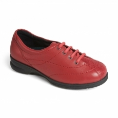 KAREN Ladies Leather Super Wide Plus Trainers Red