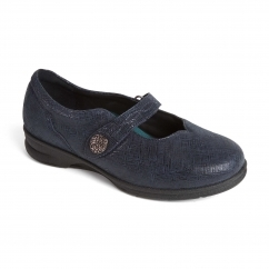 KAY Ladies Leather Super Wide (4E/6E) Mary Jane Shoes Navy Print