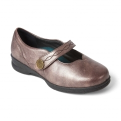KAY Ladies Leather Super Wide (4E/6E) Mary Jane Shoes Rose Gold
