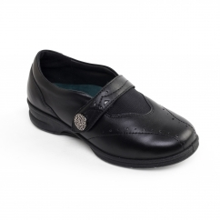 KIRSTEN 2 Ladies Leather Super Wide (4E/6E) Shoes Black