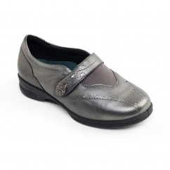 KIRSTEN 2 Ladies Leather Super Wide (4E/6E) Shoes Gun Metal