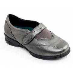 KIRSTEN Ladies Leather Super Wide (4E/6E) Shoes Gun Metal