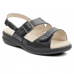 LAURA Ladies Extra Wide + EEE Fit Touch Fasten Sandals Black Patent