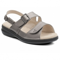 LAURA Ladies Extra Wide + EEE Fit Touch Fasten Sandals Pewter