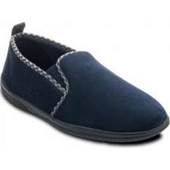LEWIS Mens Microsuede Wide (G Fit) Full Slippers Navy