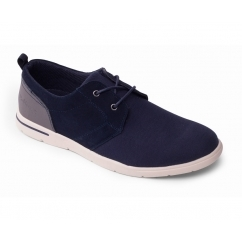 LIAM Mens Canvas Lace Up Summer Trainer Shoes Navy
