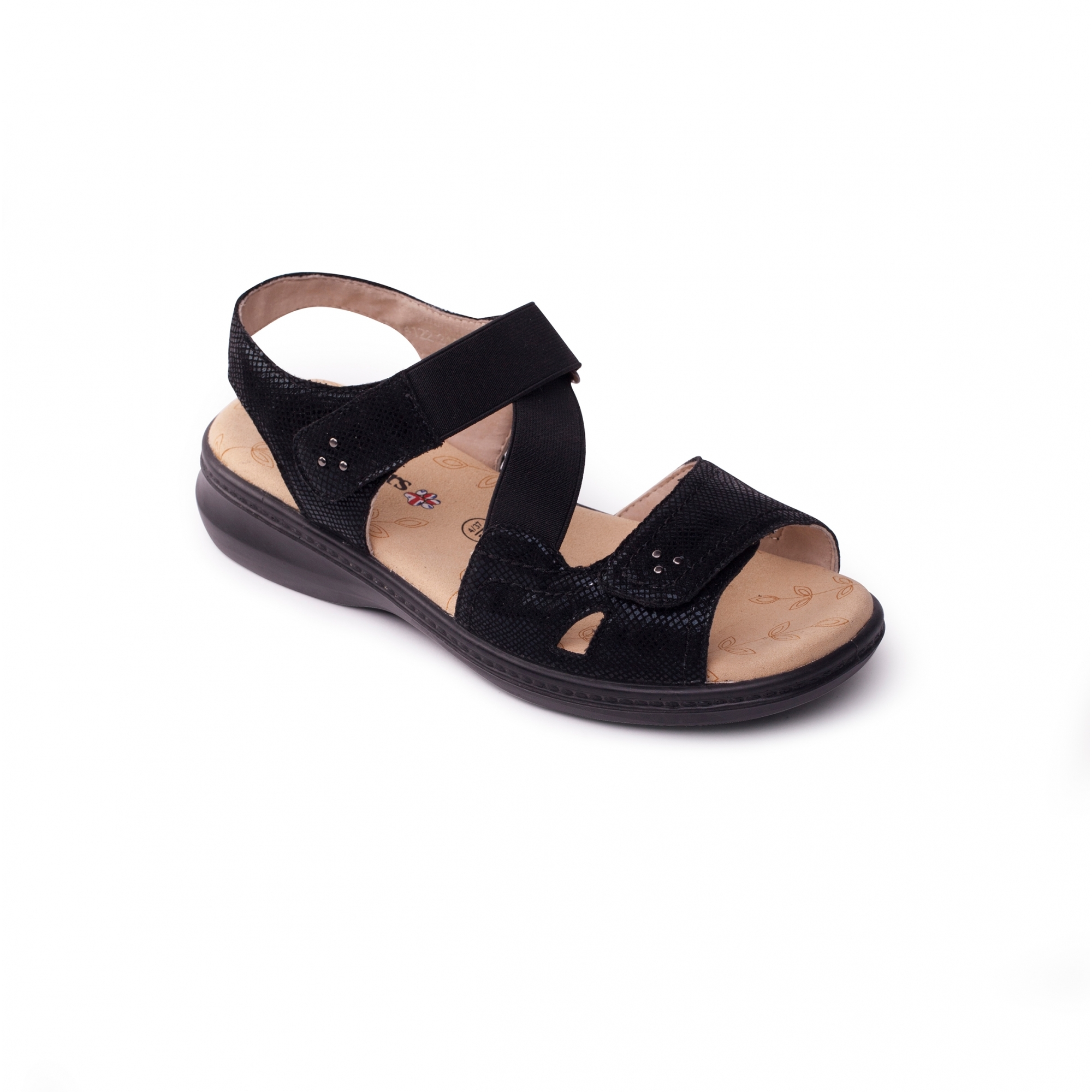 a5b4ed24d6c7a Padders LOUISE 2 Ladies Extra Wide Plus Velcro Sandals Black   Shuperb