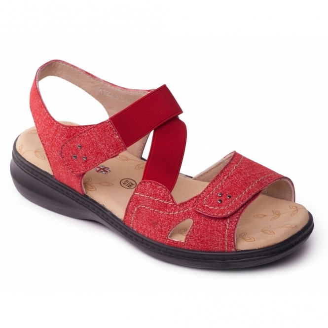 Padders LOUISE Ladies Extra Wide Plus Velcro Sandals Red