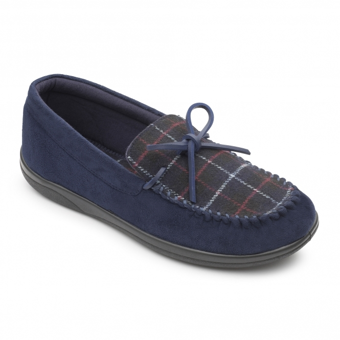 888975eb858a Padders LOUNGE Mens Textile Wide (G Fit) Slippers Navy