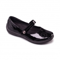 LYRIC Ladies Leather Extra Wide (2E/3E) Mary Jane Shoes Black