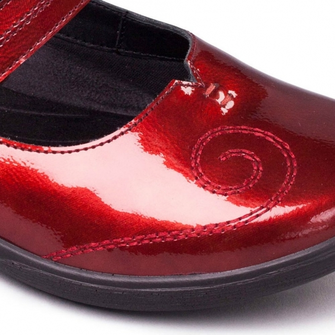 Padders LYRIC Ladies Wide EE//EEE Fitting Touch Fasten Patent Mary Jane Shoes Red