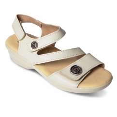 4ea25c904e70 Padders MADEIRA Ladies Leather Wide (E Fit) Sandals Beige