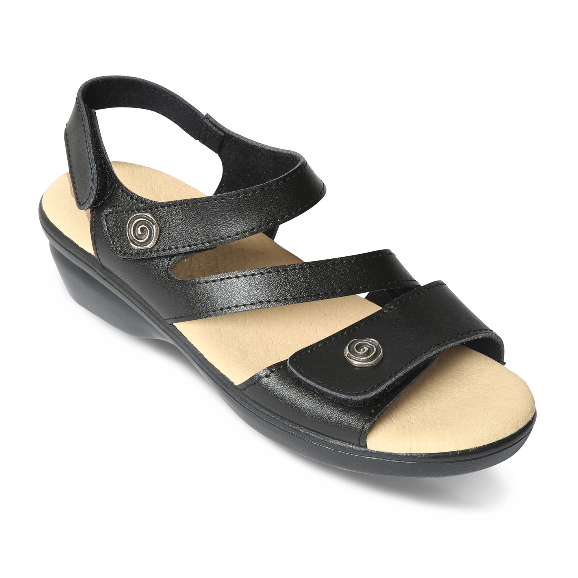 c764aa0f47348 Padders MADEIRA Ladies Leather Wide (E Fitting) Sandals Black   Shuperb