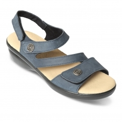 d6b9f06b9e13 Padders MADEIRA Ladies Leather Wide (E Fit) Sandals Navy