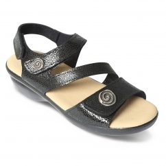 c885fce09c28 Padders MADEIRA Ladies Patent Leather Wide (E Fit) Sandals Black