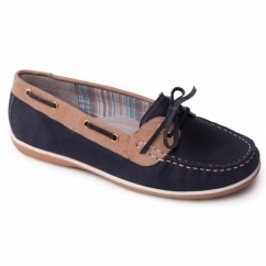 MARINA Ladies Leather Wide (E Fit) Loafers Navy/Combi