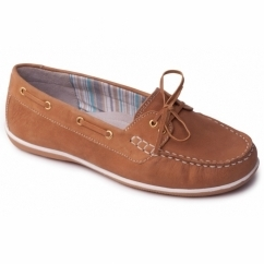 MARINA Ladies Leather Wide Loafers Tan