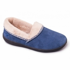 MELLOW Ladies Fleece E Wide Slippers Denim Blue