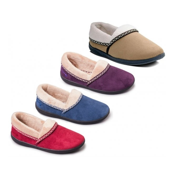 a6dcfa01517 Padders MELLOW Ladies Fleece Extra Wide (2E) Full Slippers Cherry