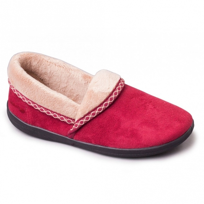 Padders MELLOW Ladies Microsuede Fleece Extra Wide Slippers Cherry