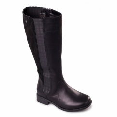 MYRA Ladies Leather Zip Extra Wide Plus Tall Boots Black