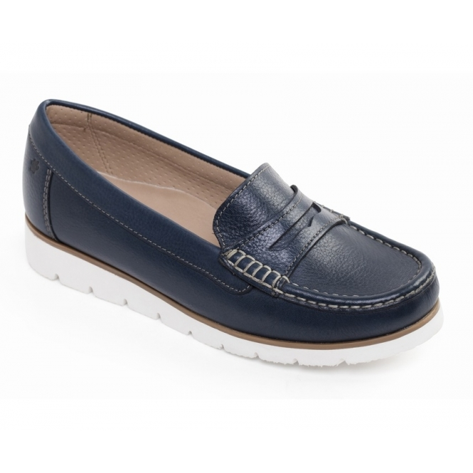 65046bdace7 Padders NOLA Ladies Wide Fit Cosy Leather Loafer Shoes Navy