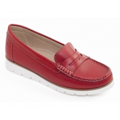 Padders NOLA Ladies Leather Wide (E Fit) Loafers Red