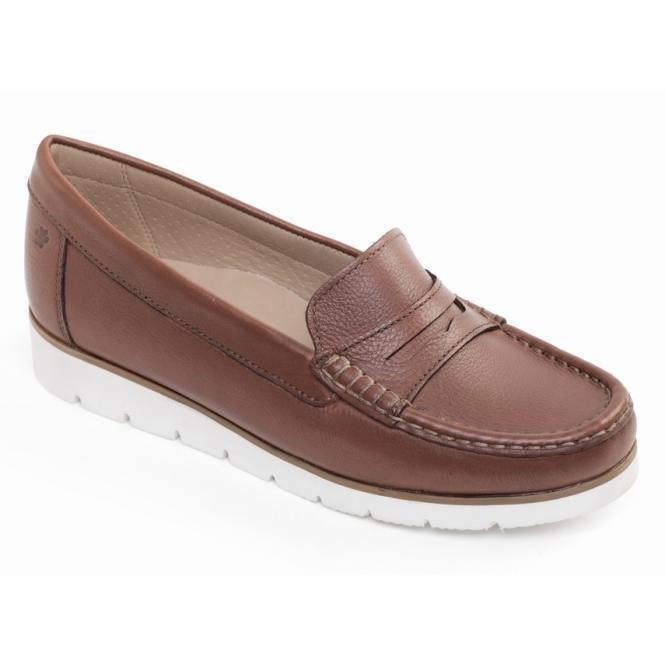 2aa1c8b4c5c Padders NOLA Ladies Wide Fit Cosy Leather Loafer Shoes Tan