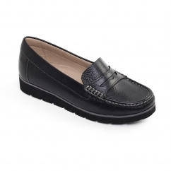 NOLA Ladies Wide Fit Flatform Loafer Shoes Black - AECC