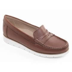 NOLA Ladies Wide Fit Flatform Loafer Shoes Tan