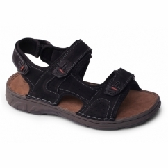 OCEAN Mens Leather Velcro Sports Sandals Black