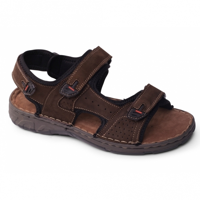 Padders OCEAN Mens Leather Velcro Sports Sandals Brown