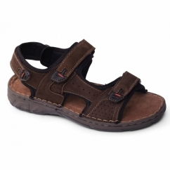 OCEAN Mens Leather Velcro Sports Sandals Brown