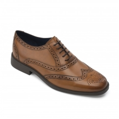 Padders OXFORD Mens Leather Wide (G Fit) Shoes Cognac