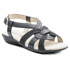 Padders PANDORA 2 Ladies Leather Wide (E Fit) Sandals Black