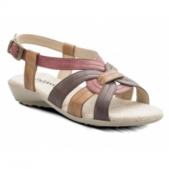 Padders PANDORA Ladies Leather Wide (E Fit) Sandals Red
