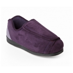 PAULA Ladies 4E/5E Wide Fit Touch Close Slippers Purple