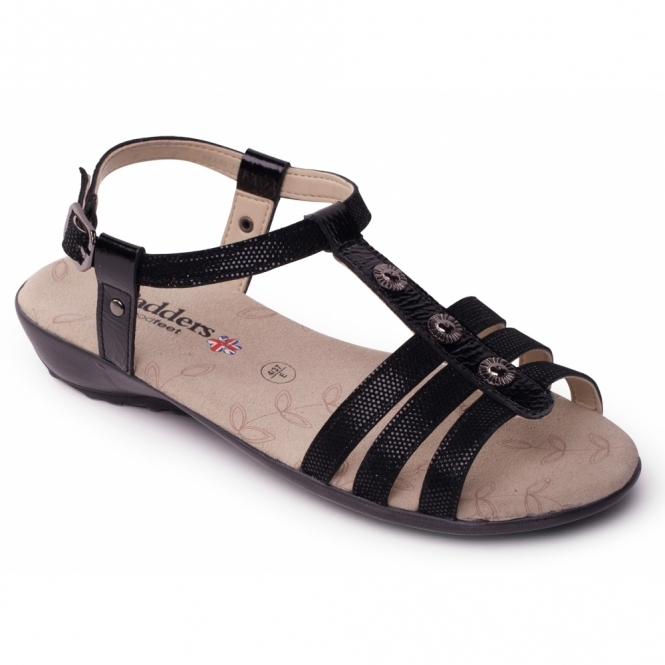 Padders PEARL Ladies Leather Wide (E Fit) Sandals Black