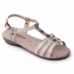 Padders PEARL Ladies Leather Wide (E Fit) Sandals Buff Beige