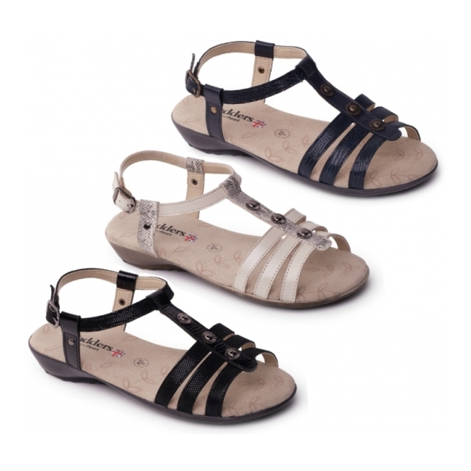 Padders PEARL Ladies Buckle Wide Fit Sandals Navy Blue  f4ced5b6982f