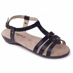 Padders PEARL Ladies Leather Wide (E Fit) Sandals Navy