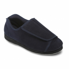 PETER Mens Touch Fasten Extra Wide Plus Full Slippers Navy