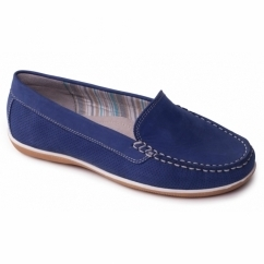PIER Ladies Leather Wide Loafers Royal Blue