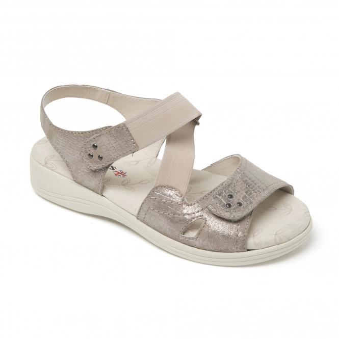 41283d128 Padders CRUISE Ladies Extra Wide (3E 4E) Sandals Metallic Reptile