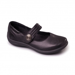 POEM Ladies Leather Extra Wide (2E/3E) Mary Jane Shoes Black